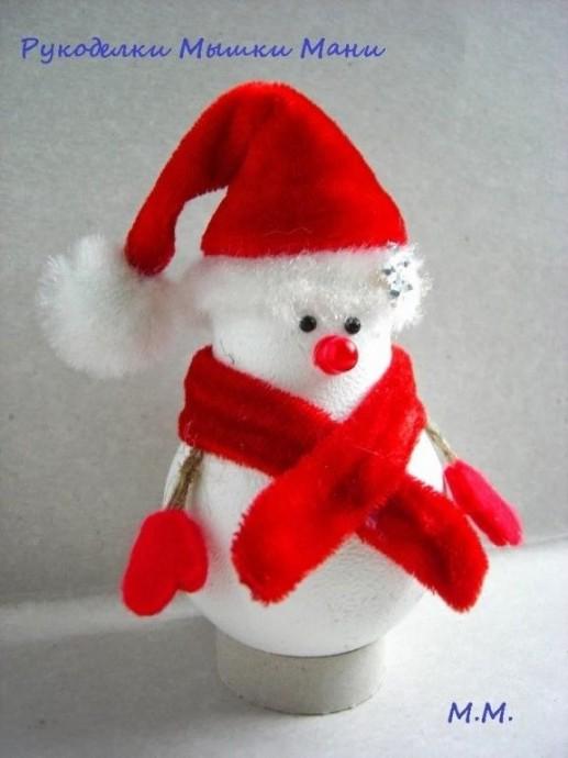 Снеговик из перегоревшей лампочки 0