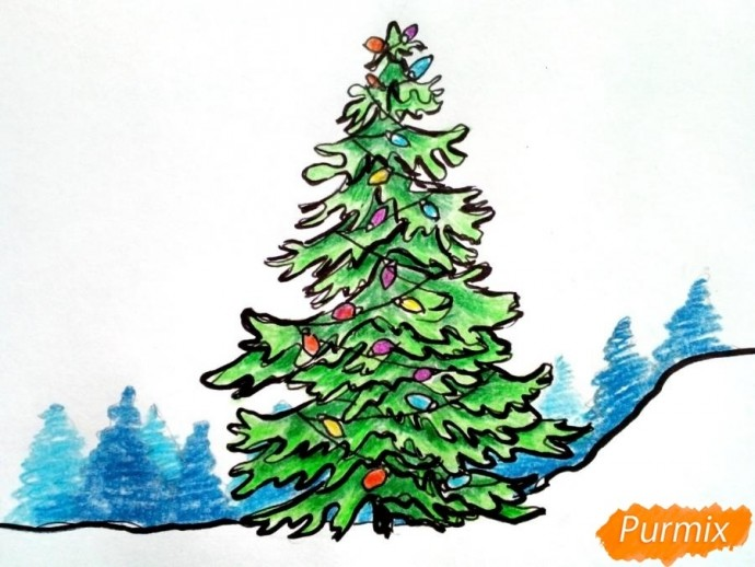 Рисуем новогоднюю ёлку с гирляндами