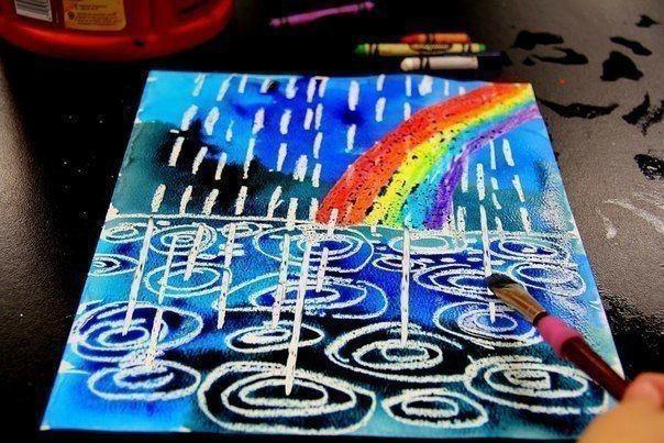 Дождик с радугой акварелью и восковыми карандашами