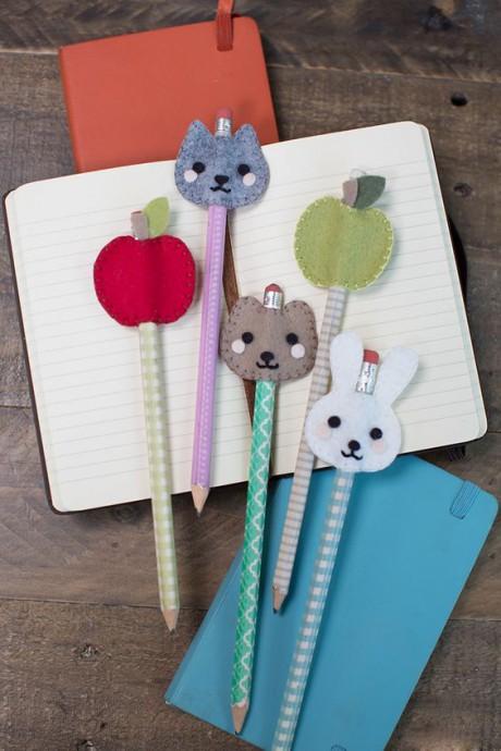 Идеи из фетра: украшаем ручки и карандаши