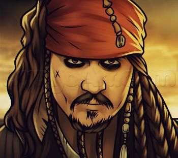 Урок рисования: пират Джек Воробей 0