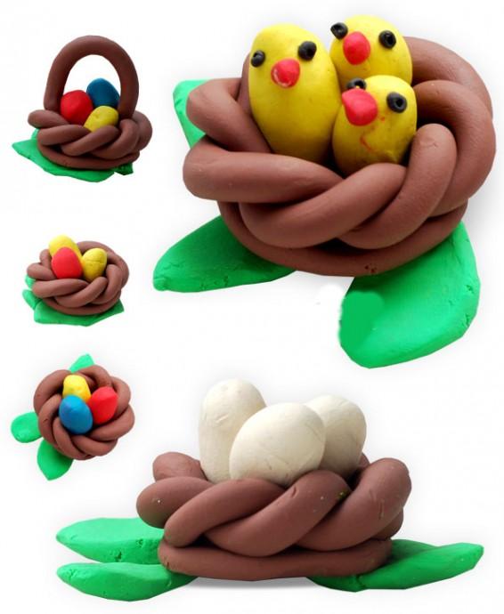 Лепим птенчиков в гнезде из пластилина
