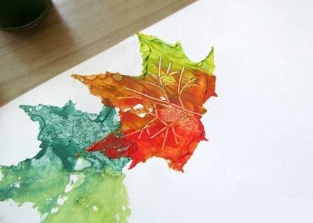 Необычный способ рисования осеннего дерева