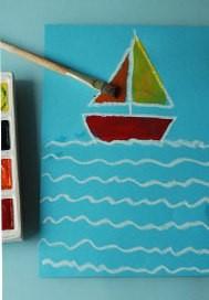 Рисуем кораблик с отражением в воде