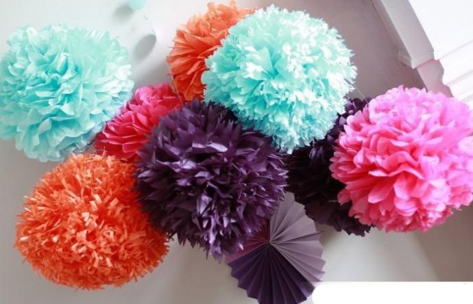Бумажные шарики из маленьких фигурных частей