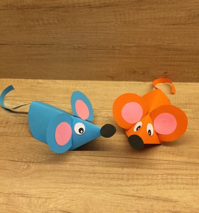 Ушастые мышки из цветной бумаги