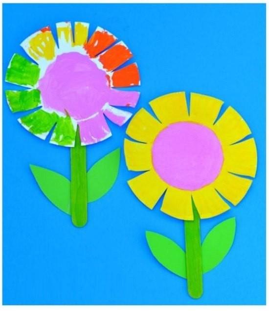 Цветочки из бумажных тарелок 0