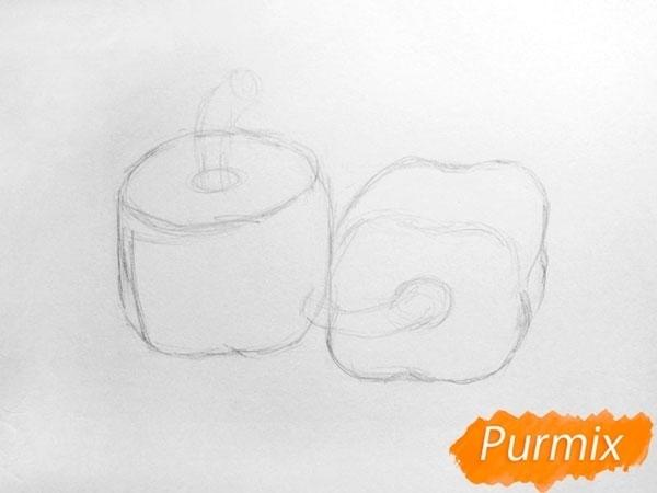 Два болгарских перца карандашами поэтапно