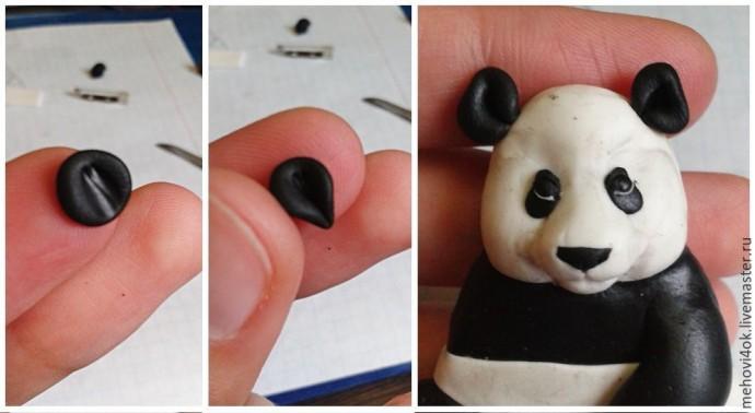 Лепим милую брошку-панду из полимерной глины