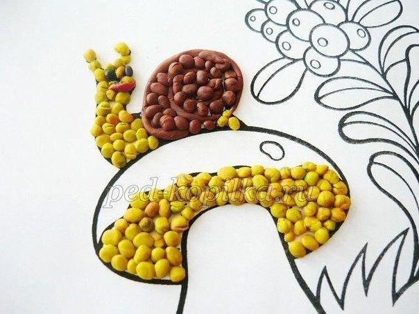 Пластилинография для детей: гриб с улиткой
