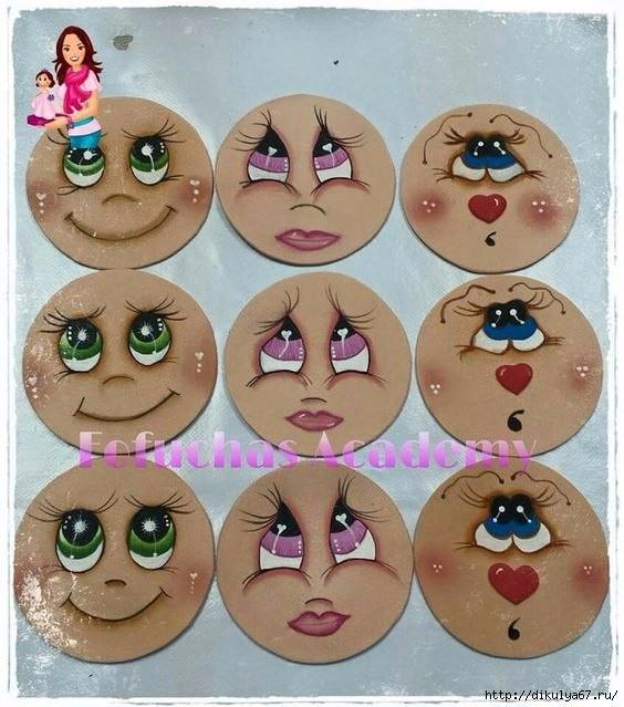 Рисуем глазки и лицо куклам: шаблоны