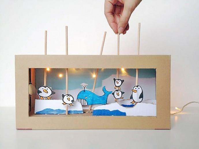 Кукольный театр: пингвины и кит