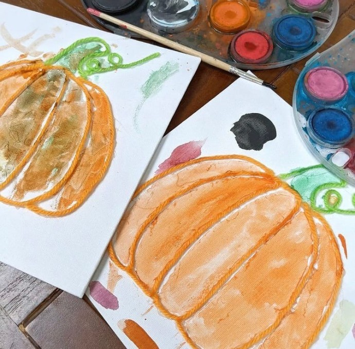 Рисуем тыкву с контурами из пряжи