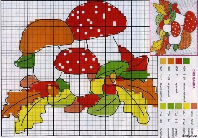Вышиваем с детьми грибочки