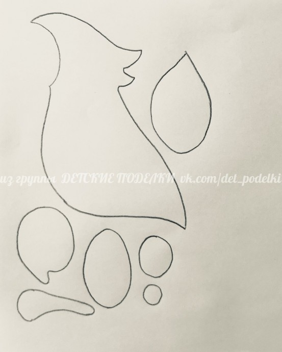 Бумажная аппликация поделка «Попугай»