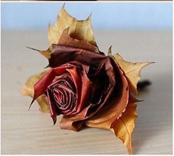 Пышная роза из опавших листьев