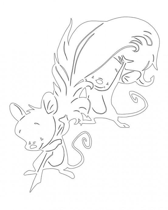 Трафареты с мышами для детского творчества