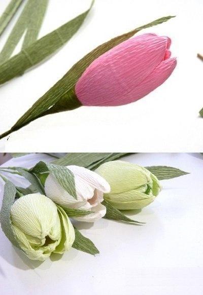 Букет тюльпанов из гофрированной бумаги