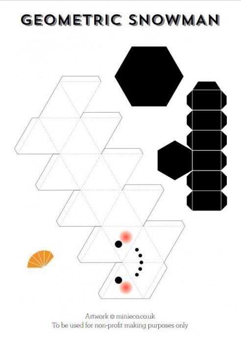 Геометрический снеговик с шаблонами 1