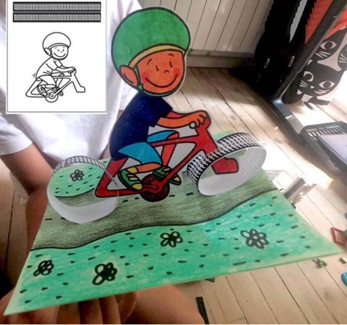 """Объемная аппликация """"Велосипедист"""""""