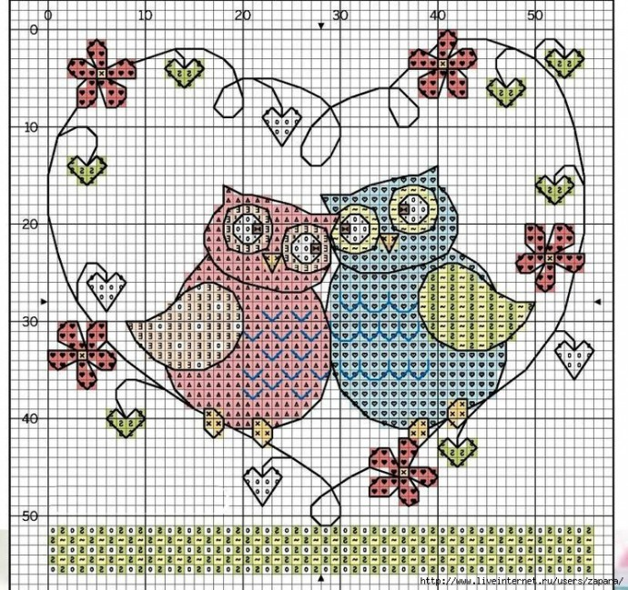 Схемы вышивки птичек с детьми 7