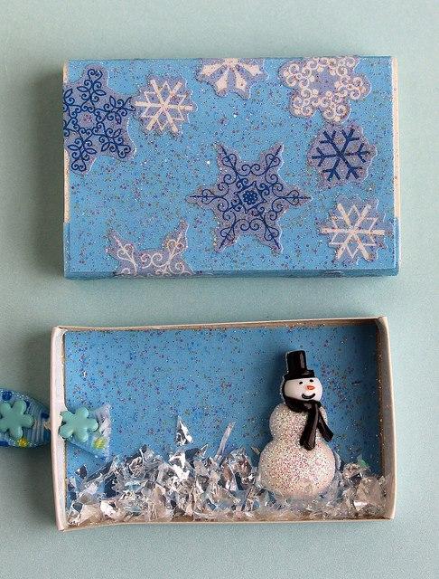 Необычные елочные игрушки из спичечных коробков 1