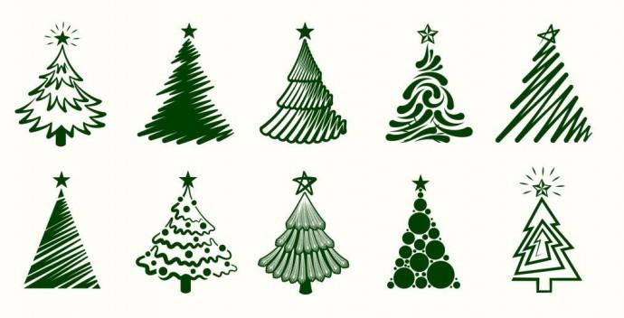 Множество вариантов рисования новогодней ёлочки
