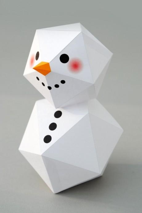 Геометрический снеговик с шаблонами 5
