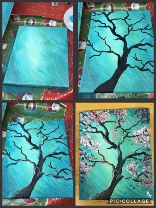 Рисуем цветущее дерево на бирюзовом фоне