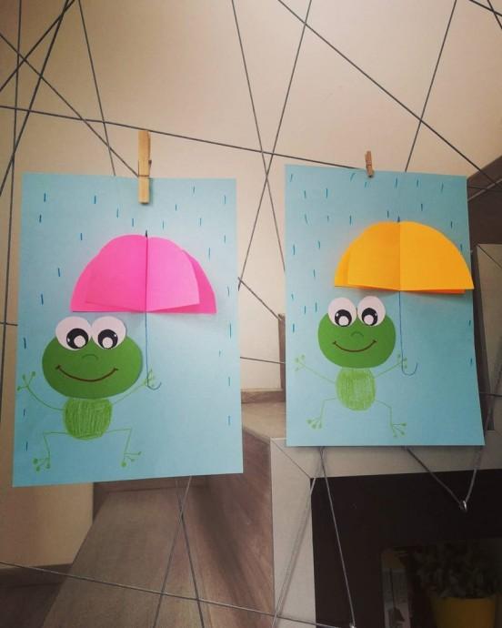 """Объемная аппликация из цветной бумаги """"Лягушка под зонтом"""""""