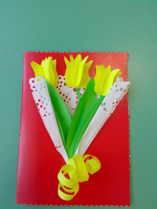Открытка с цветочками из цветной салфетки открытки на день матери