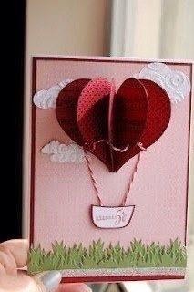 Очаровательная открытка с воздушными шарами из сердечек