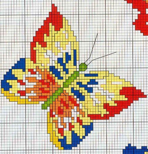 Детская вышивка: бабочки