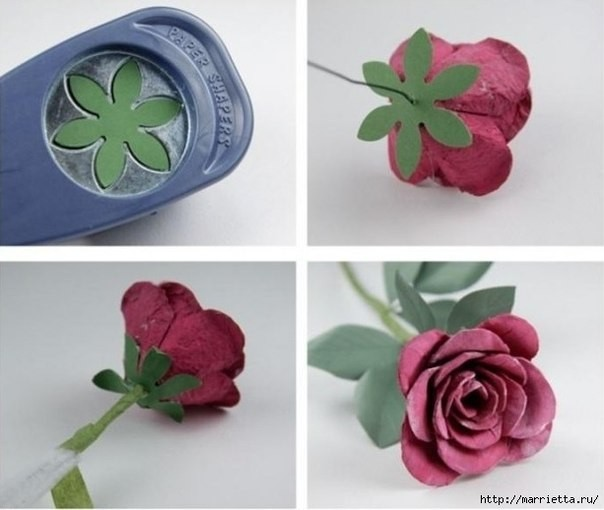 Цветок из картонного лотка 4