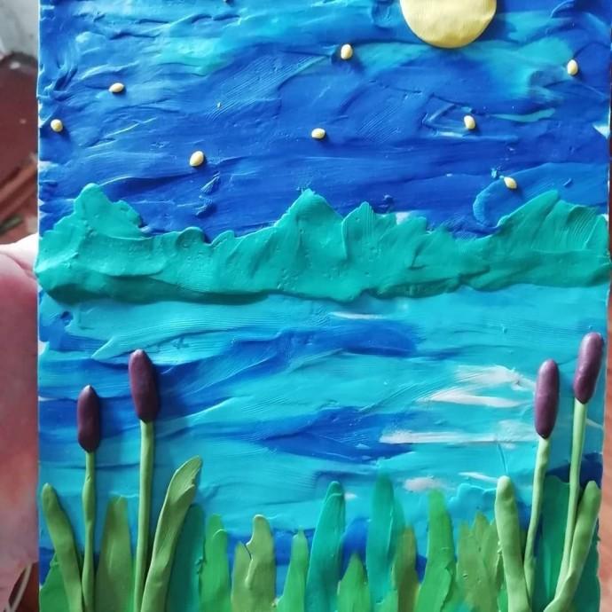 Картина, нарисованная пластилином