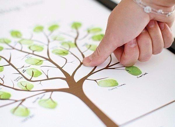 Рисуем листву дерева отпечатками пальцев 0