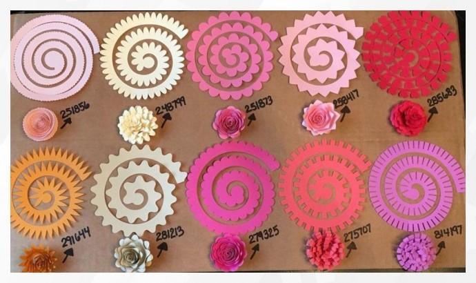 Шаблоны спиральных цветов из фетра