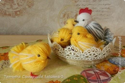 Цыплята из пряжи: мастер-класс