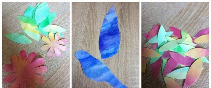 Колибри из цветной бумаги