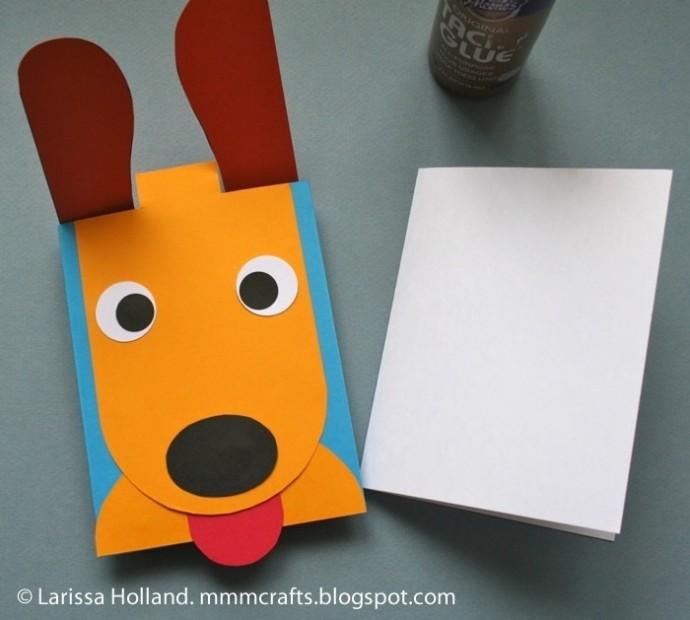 Подвижная открытка-собачка из бумаги