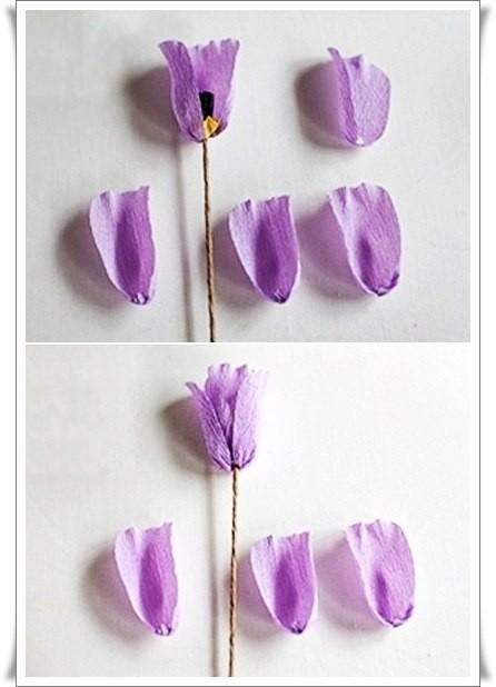 Разноцветный букетик тюльпанов из цветной гофрированной бумаги 5