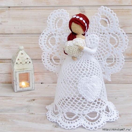 Рождественские ангелочки, которые связаны крючком 0