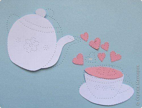Сердечный чайник в технике изонить