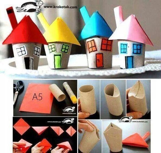 Домики из картонных рулончиков