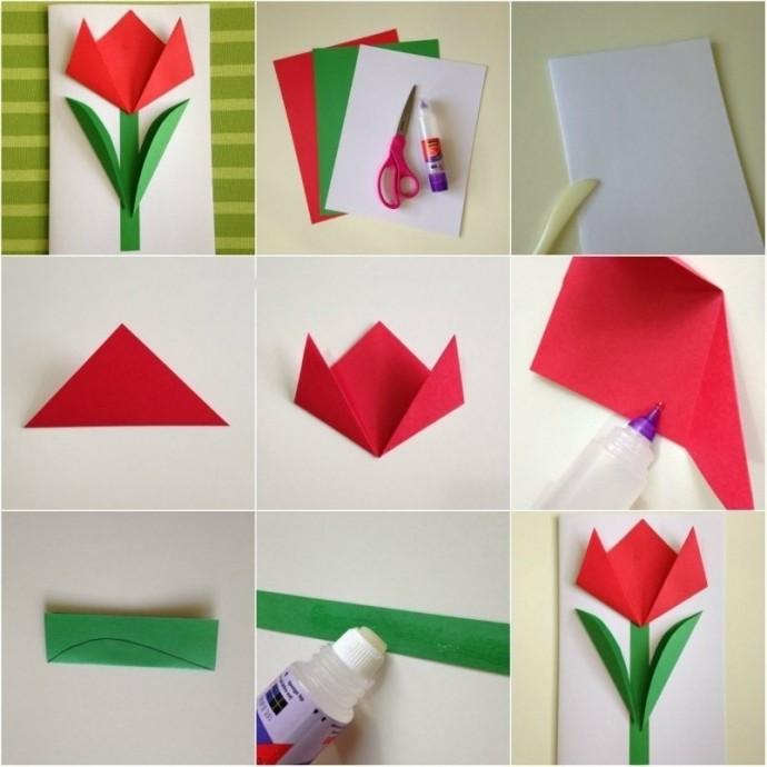 Красивые тюльпаны из цветной бумаги