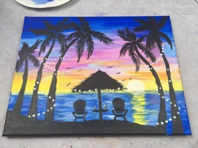 Рисуем с детьми пейзаж с пальмами