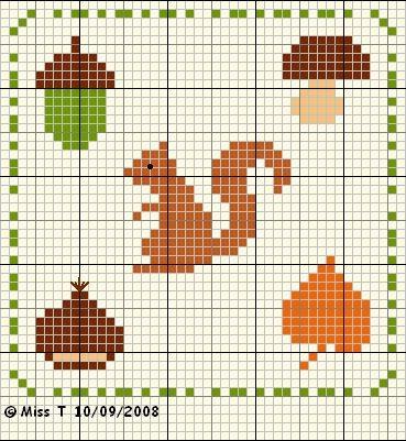 Простые схемы для вышивки листьев и желудей с детьми