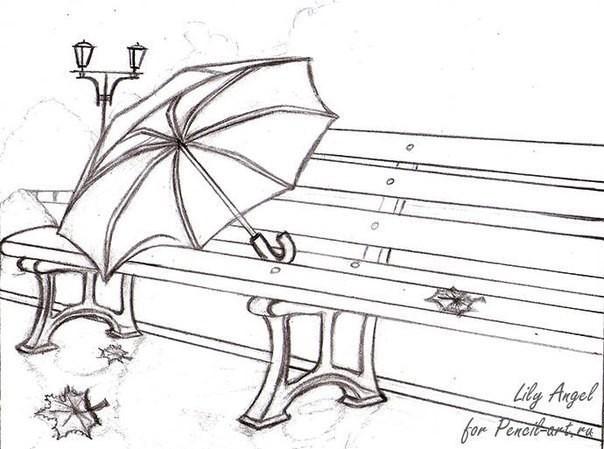 Рисуем с детьми зонт на лавочке
