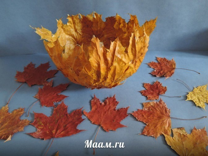 Вазочка из листьев в технике папье-маше
