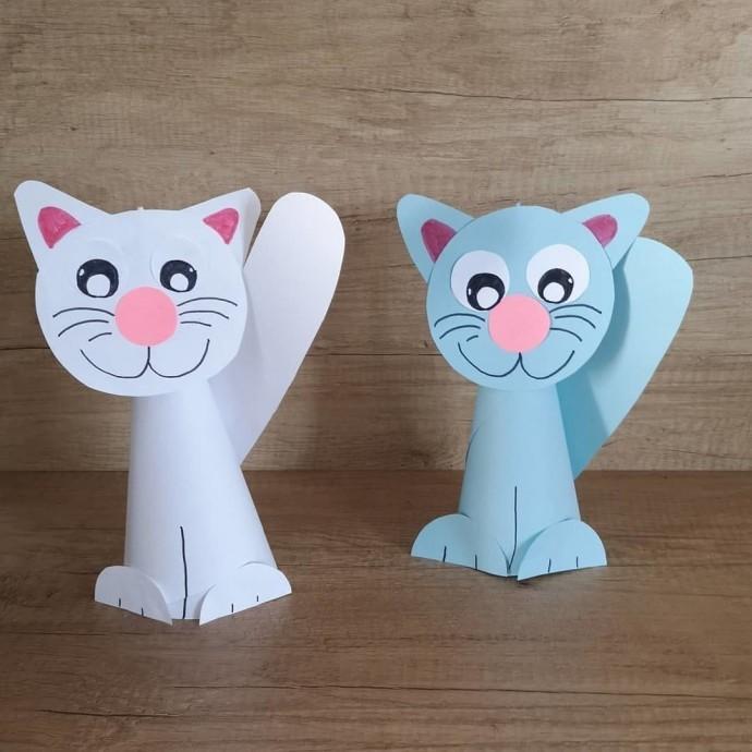 Объёмные котики из бумаги